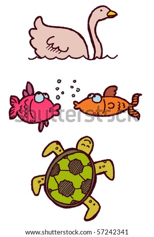 swan fish turtle - stock vector