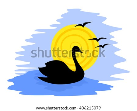 swan illustration - stock vector