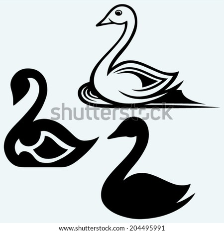 Swan sign. Image isolated on blue background - stock vector