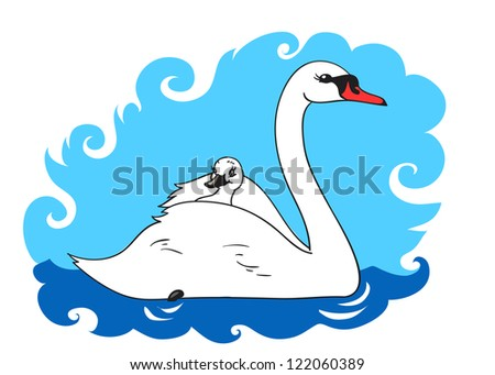 Swan swims with chick on her back - stock vector