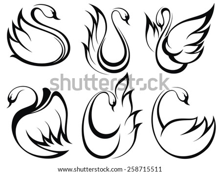 Swan symbol set - stock vector