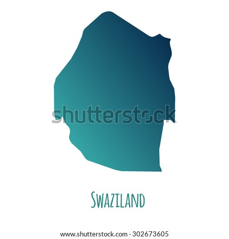 Swaziland vector map with color gradient and caption on white background. Can be used as element of your infographics or presentation - stock vector