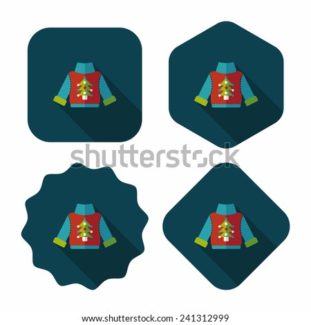 Sweater flat icon with long shadow, eps10 - stock vector