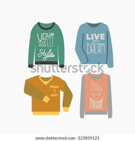 Sweatshirts set. Vintage vector illustration. - stock vector