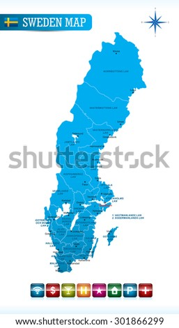 Sweden Blue Map - stock vector