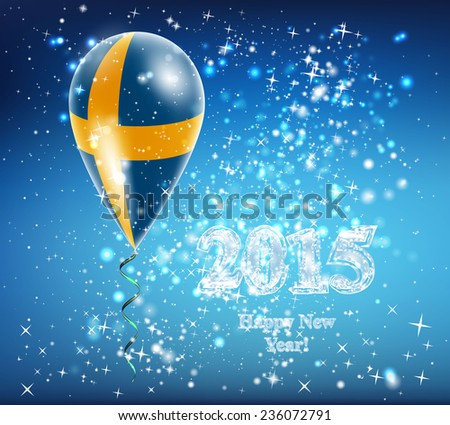 Sweden flag. Flag of the country in a balloon. The celebration and gifts. Balloon on Happy New Year. Merry Christmas. The sky sparkles with stars and snowflakes. Vector. Icon.  - stock vector