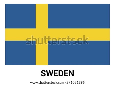 Sweden flag isolated vector in official colors and Proportion Correctly. country's name label in bottom - stock vector