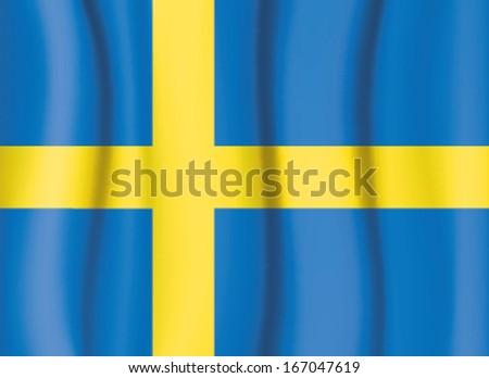 Sweden flag, satin curtain wave flag vector - stock vector