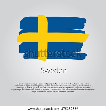 Sweden Flag with colored hand drawn lines in Vector Format - stock vector