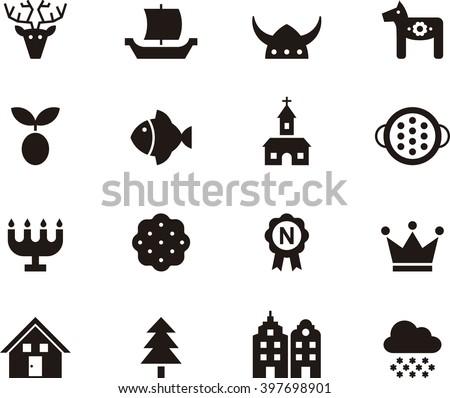 SWEDEN flat glyph icons - stock vector