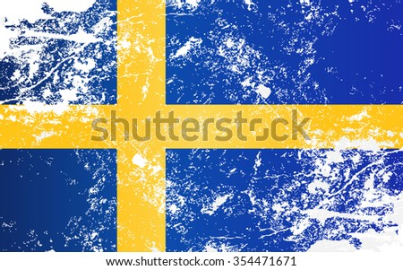 Sweden Grunge Texture Flag. Grunge effect can be cleaned easily. - stock vector