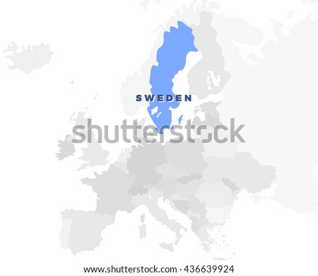 Sweden Location Modern Detailed Map All Stock Vector 436639924