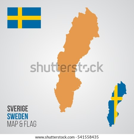 Blank Detailed Contour Maps Sweden Vector Stock Vector - Sweden map blank
