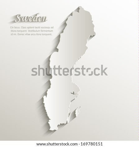 Sweden map card paper 3D natural vector - stock vector