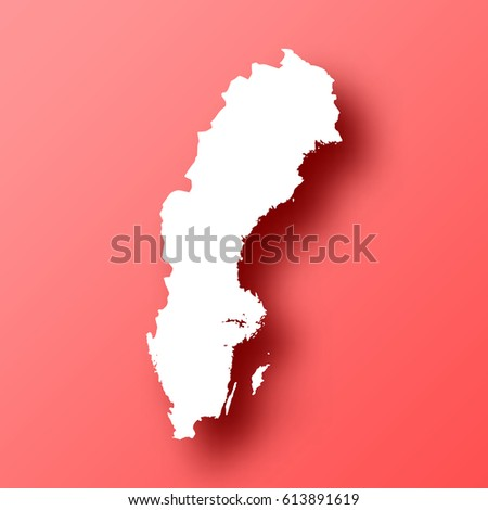 Long Shadow Mapireland Country On White Stock Illustration - Sweden map template