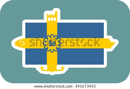 Sweden national banner and industrial icons collage. Ship, fish, factory, anchor icons on the end of flag stripes - stock vector