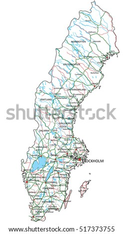 Florida State Road Map Interstates Us Stock Vector - Sweden highway map