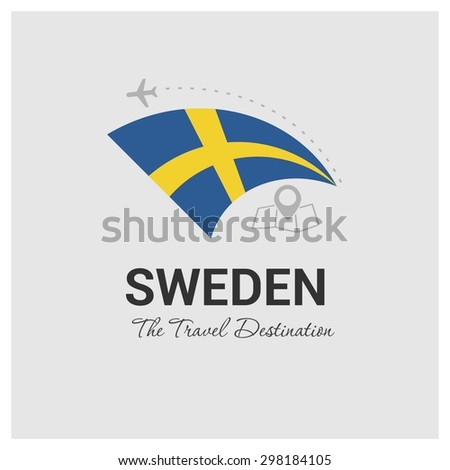 Sweden The Travel Destination logo - Vector travel company logo design - Country Flag Travel and Tourism concept t shirt graphics - vector illustration - stock vector