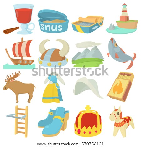 Sweden Travel Symbols Icons Set Cartoon Stock Vector Hd Royalty