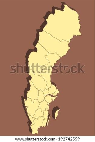 Sweden Vector Map  - stock vector