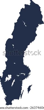 Sweden Vector map. High detailed.  - stock vector
