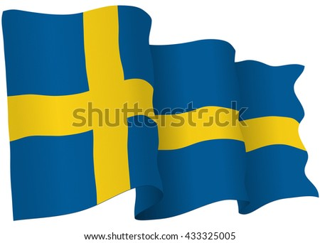Swedish flag of Sweden isolated on white in vector format.