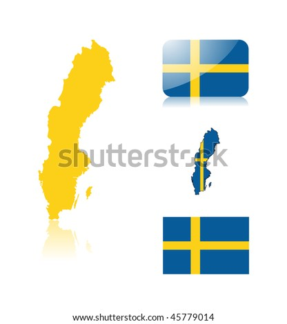 Swedish map including: map with reflection, map in flag colors, glossy and normal flag of Sweden. - stock vector