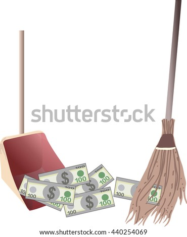 Sweeps dollar bills money in the scoop, isolated on white background - stock vector