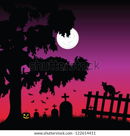 sweet and beauty cementery with bats vector illustration - stock vector