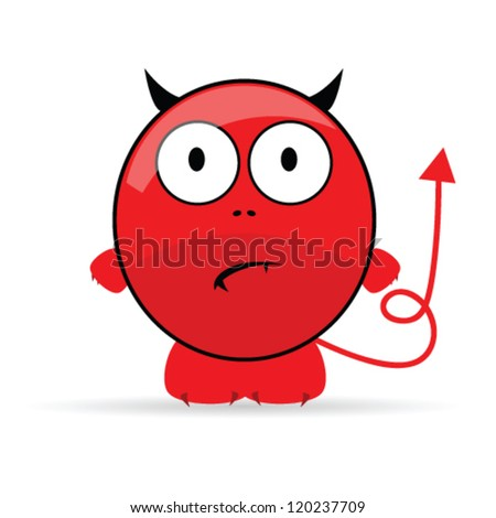 sweet and cute devil vector illustration - stock vector