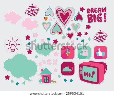 Sweet and Cute icon - stock vector