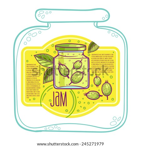 Sweet and healthy homemade gooseberry jam paper label  vector illustration - stock vector