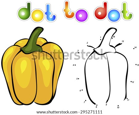 Sweet and juicy pepper. Educational game for kids: connect numbers dot to dot and get ready image. Vector illustration for children - stock vector