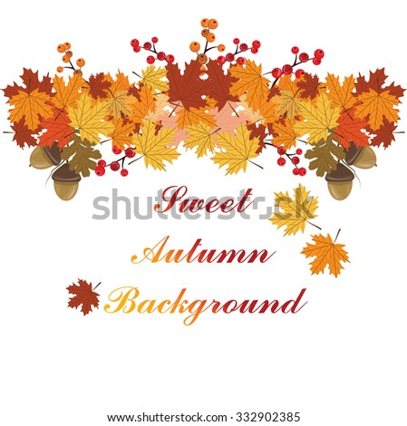 Sweet Autumn leaves background. Vector - stock vector