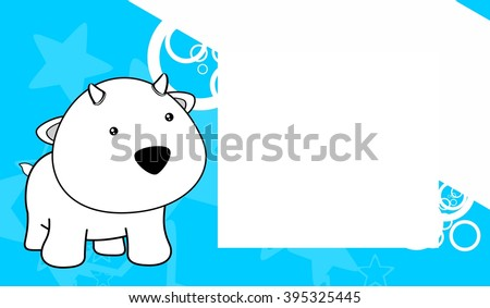 sweet baby goat cartoon frame background in vector format