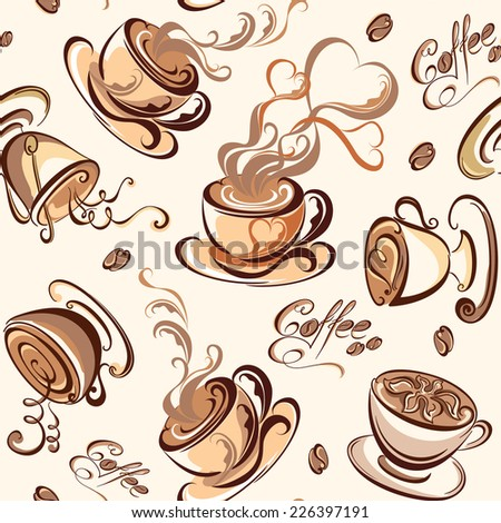 Sweet background.  Seamless pattern with coffee beans and cups. Vector illustration. - stock vector