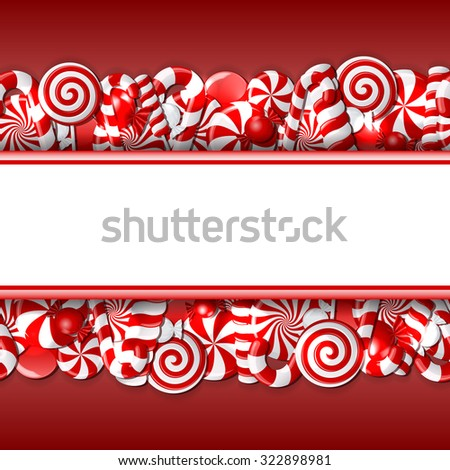 Sweet banner with red and white candies. Seamless pattern. Vector illustration - stock vector