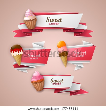 Sweet banners set  - stock vector