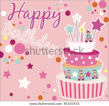 Sweet birthday card cake stock vector 2018 85101433 shutterstock sweet birthday card with cake bookmarktalkfo Choice Image