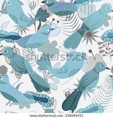 sweet blue seamless flovers and birds pattern