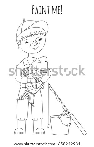Sweet Boy Fisherman With Fish In His Hands Coloring Book For Adults And Children