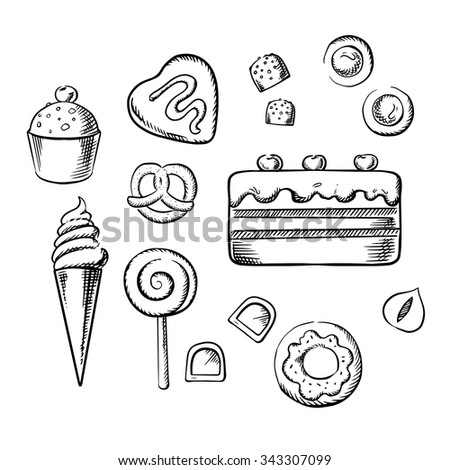 Sweet cake and cupcake with cream, ice cream cone, glazed doughnut, chocolate candies with hazelnuts and fondant, cookies, lollipop and pretzel. Sketch icons for pastry and confectionery design - stock vector