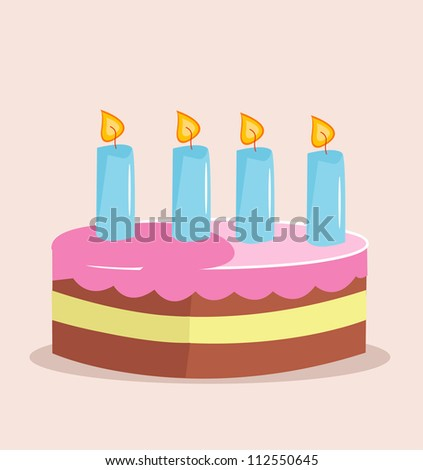 Sweet cake for birthday holiday - stock vector