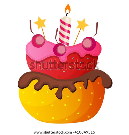 Sweet Cake with Berry Menu Background Vector Illustration EPS10 - stock vector