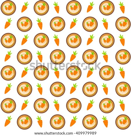 Sweet Cakes with Carrot Seamless Pattern Background Vector Illustration EPS10 - stock vector