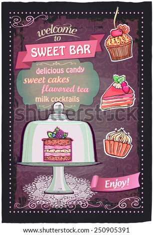 Sweet candy bar handdrawn chalkboard menu design. - stock vector