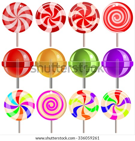 sweet candy lollipops on white background - stock vector