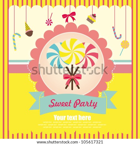 sweet card. vector illustration - stock vector