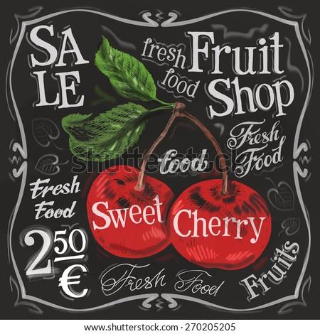 sweet cherry vector logo design template.  fresh fruit, food or menu board icon. - stock vector