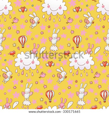 Sweet childish background made of cartoon signs: lovely rabbits, hearts, stars, clouds and air balloon in the sky - stock vector
